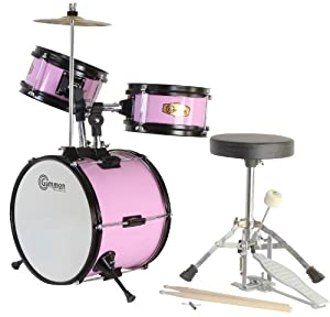 Pink Drum Set Junior Complete Childrens Kit with Cymbal Stool and Sticks by Gammon Percussion