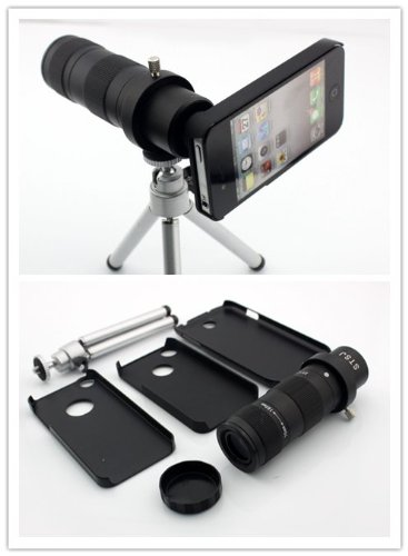 Big Dragonfly New Arrival Mobile Phone Lens 2X-14X Zoom Optical Magnification Mobile Phone Telephoto Lens For Iphone 5/5S With Mini Tripod,Cleaning Cloth,Black Hard Back Case For Iphone 5/5S ,Holder And A Black Protective Pouch Retail Package Black & Silv