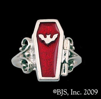 Sterling Silver Vampire Coffin Ring
