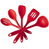 StarPack Premium Silicone Kitchen Utensil Set (5 Piece) in Hygienic Solid Coating - Bonus 101 Cooking Tips (Cherry Red)