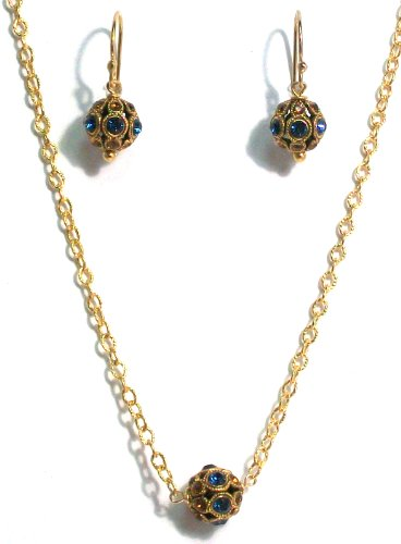 Pearlstone 14K Gold Filled Vintage Inspired Pave Crystal Ball Strand Necklace With Montana Blue and Topaz Swarovski Crystals With Matching Earrings
