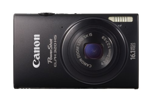 Canon 6024B003 PowerShot ELPH 320 HS 16.1 MP Wi-Fi Enabled CMOS Digital Camera with 5x Zoom 24mm Wide-Angle Lens and Case (Black)