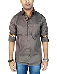 AA' Southbay Men's Grey Slim Fit Solid Casual Party Shirt