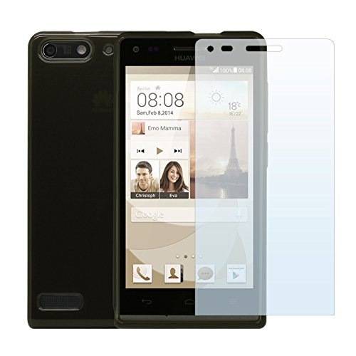 Cbus Wireless Tpu Flex-Gel Rubber Silicone Case / Skin / Cover Case, With 3 Lcd Screen Protectors For Huawei Ascend G6 - Transparent Black / Smoke