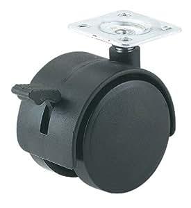 Steelex D2634 2-Inch Black Nylon Furniture Swivel Plate Caster with Brake, 65-Pound Capacity