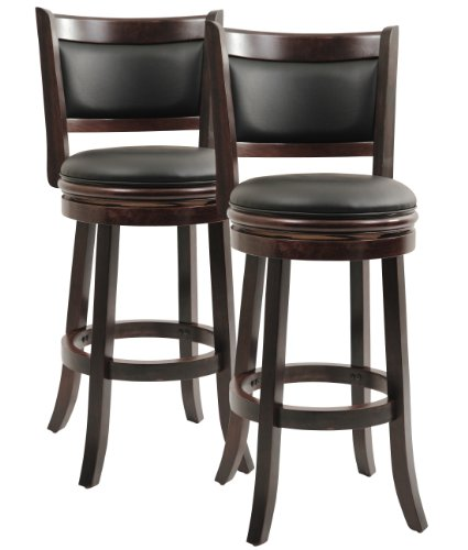 Boraam Augusta Swivel Stool, 29-Inch, Cappuccino Finish, 2-Pack