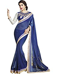 Mannequin Store Blue Georgette Designer Saree With Unstitched Bloues Piece