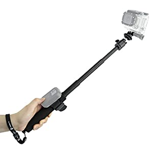 CamKix Telescopic Pole for Gopro Hero 4, Session, Black, Silver, Hero+ LCD, 3+, 3, 2, 1 and Cameras - Adjustable - Remote Straps - Easy Extension - Tripod Mount / Wrist Strap / Lanyard