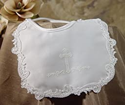 Matte Satin Christening Bib with Puff Silk Screened Cross and Venice Lace