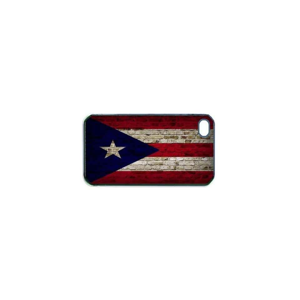 Puerto Rico Flag Brick Wall iPhone 4s Black Case