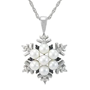"""Sterling Silver Pearl Snowflake Pendant with Sapphire-Accents, 18"""""""