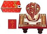 Purpledip Pongal/Lohri/Makar Sankranti gift Hamper: Marble chowki ganesh,greeting card in Designer Box