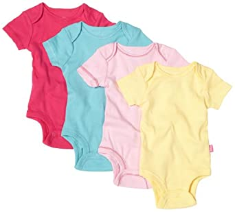 Disney Cuddly Bodysuit with Grow an Inch Snaps, Minnie Mouse Bold Solids 4 Pack, Pink/Blue/Yellow/Fuschia, 0-3 Months