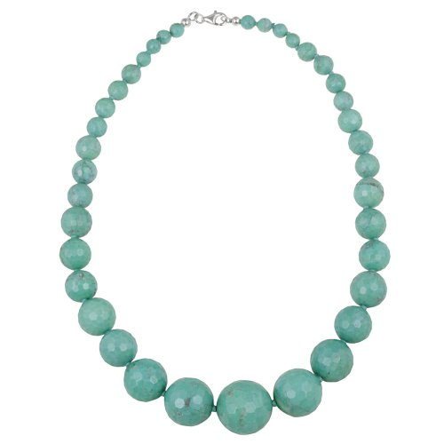 Sterling Silver Faceted Howlite Bead Graduated Necklace, 18