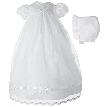 Lauren Madison baby girl Newborn Christening Baptism Embroidered Gown , White, 0-3 Months