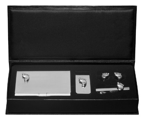 Visol Foot Business Card Case, Money Clip, Cufflinks and Tie Bar Gift Set (VSET829)