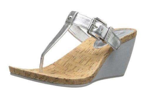 BCBGeneration Women's Mirage Wedge Sandal,Silver,8 M US