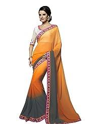 Designer Striking Orange Border Worked Faux Georgette Saree By Triveni