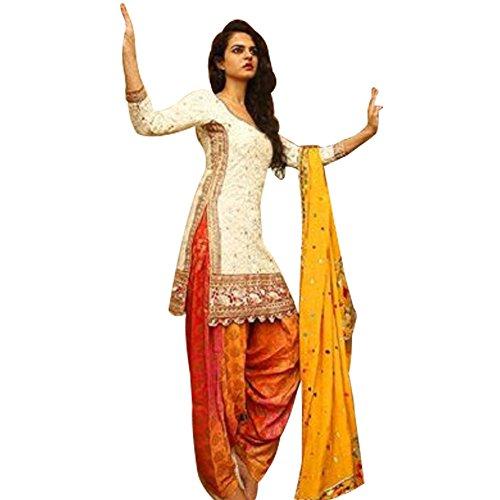 ethnic bazaar orange white cotton semistitched patiala suit