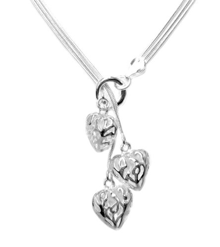 925 Sterling Silver Toned Nature Heart Trio Lariat Necklace