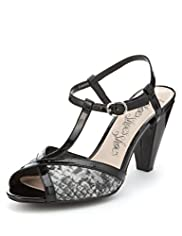 Faux Snakeskin Print High Heel T-Bar Sandals