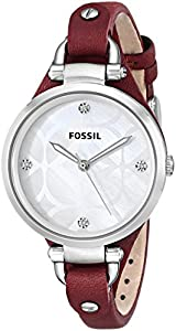 Fossil Georgia Three-Hand Leather Watch - Red Es3416