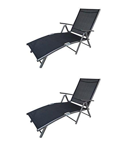 """2 x Luxus Deckchair """"Solid anthrazit"""", Aluminium Textilen günstig bestellen"""