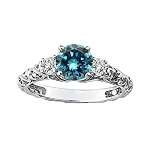 0.74 Carat Blue SI1 Round Diamond Solitaire Engagement Promise Wedding Bridal Women Ring 14K White Gold