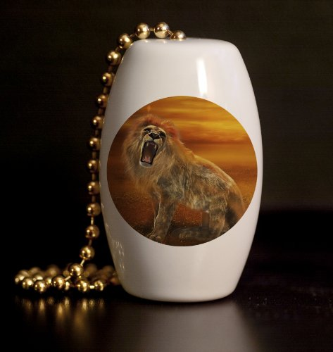 Roaring Sunset Lion Porcelain Fan / Light Pull