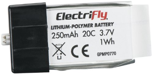 Great Planes LiPo 1S 3.7V 250mAh 20C Electrifly Plug in Cell