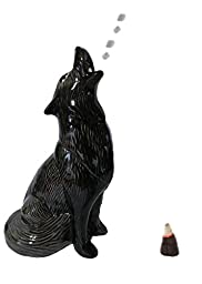 Large Black Howling Wolf - Cone Incense Burner, Gifts and Decor