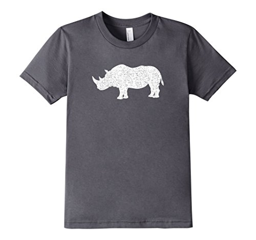 Kids Distressed Rhinoceros Or Rhino Graphic T-Shirt 4 Asphalt