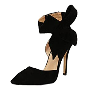 Zeagoo Womens Faux Suede High Heels Pumps Bowknot Pointed Toe Shoes Party Scandals