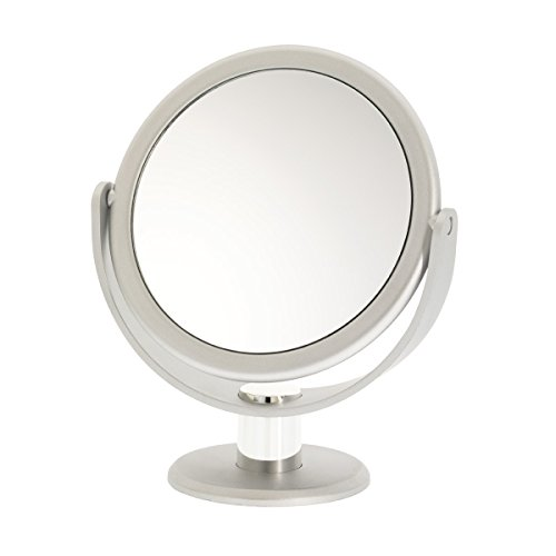 Danielle Enterprises Soft Touch 10X Magnification Round Vanity Mirror, Silver