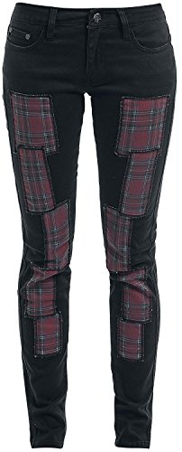 Rock Rebel by EMP Tartan Patch Skarlett (Slim Fit) Jeans donna nero W29L32