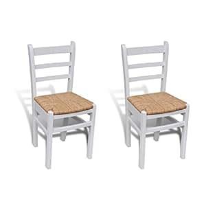 Sillas blancas de madera para comedor 2 piezas amazon for Sillas comedor amazon