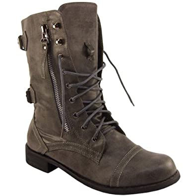 Womens grey zip military lace up boots amazon co uk shoes amp bags