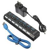 Generic 7 Port USB 3.0 Hub On/Off Switch+EU/US/UK AC Power Adapter-US Plug
