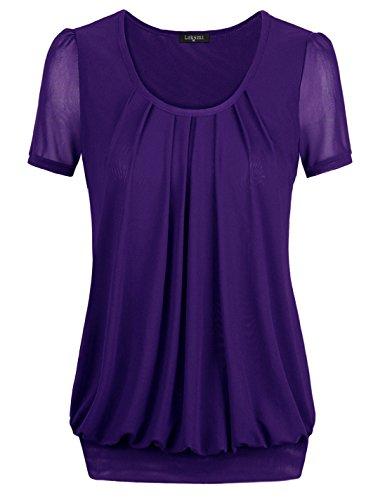 Women's Casual Short Sleeve T-shirt Blouse Tees Tops (Medium, Violet) Women 40 Casual Shorts