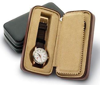 Intica Two Slot Zippered Traveler's Watch Case (Black)