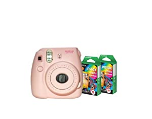 Fujifilm Instax Mini 8 Pink Camera + Mini Rainbow Colored Border 20 images