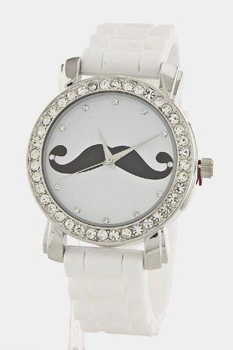 Trendy Fashion Jewelry Mustache Dial Fashion Watch By Fashion Destination | (White)