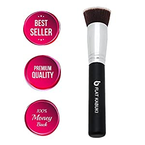 Best Foundation Brush Flat Top Kabuki: Blends Liquids, Creams + Powders for an Airbrushed Finish! 100% Money Back Guarantee; Synthetic Dense Bristles That Do Not Shed, Recommended by Top Makeup Artists Even for Beginners, Makes Great Gifts!