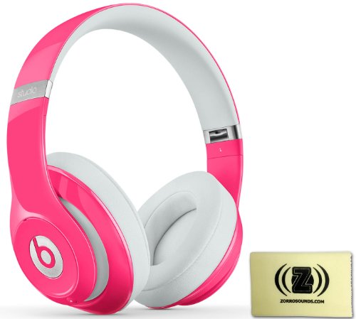 Beats By Dr. Dre Studio 2.0 Over-Ear Headphones (Pink) Bundle With Zorro Sounds Polishing Cloth
