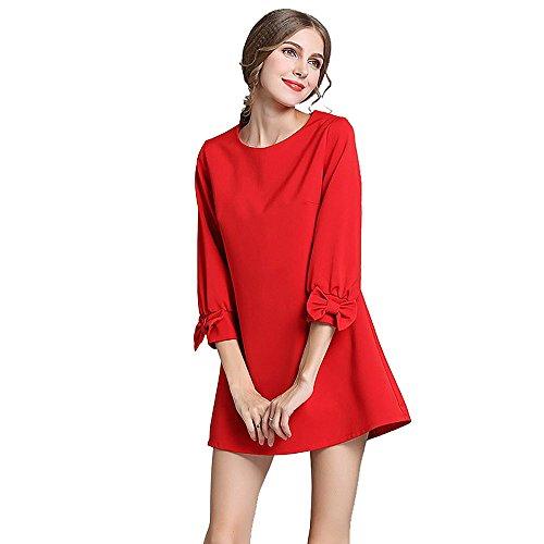 foru-da-donna-aggiungere-fertilizzanti-per-aumentare-fiocco-maniche-3-4-vestito-rosso-red-xxxxx-larg