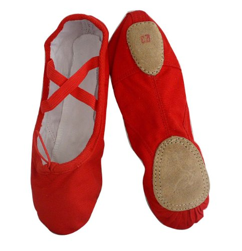 Cheap Lady's Red Canvas split-sole Ballet Slippers (B006OFRTL8)