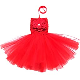 Buenos Ninos Baby Girls TUTU Crochet Tube Top Pettiskirt (Red)