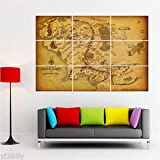 Bingirl Giant Poster Huge Print Middle Earth Map The Lord of the Rings Wall Art Deco