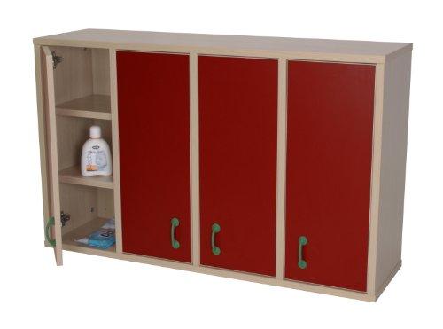 Wandregal Kidz Pro mit 12 Fächern und 4 Türen, verschiedene Farben rot