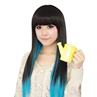 Black+Blue Color Fashion Womens Lady Sexy Straight Wigs Style Cosplay Long Hair from DAYISS